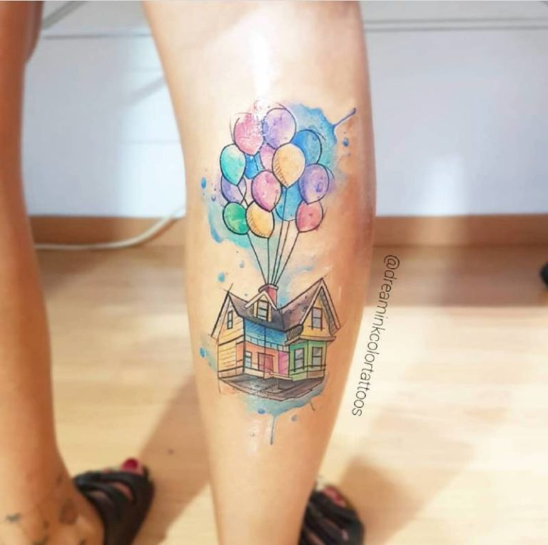 tatuaje UP de globos watercolor