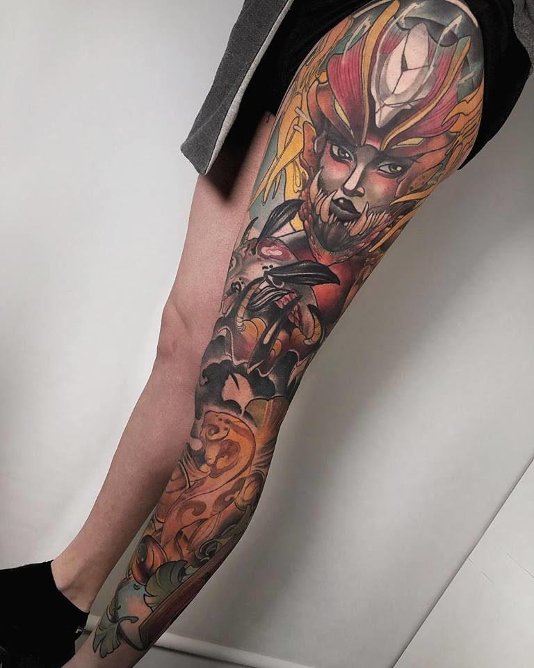 Tatuajes neotradicionales de Pierna completa en Madrid por Jesus