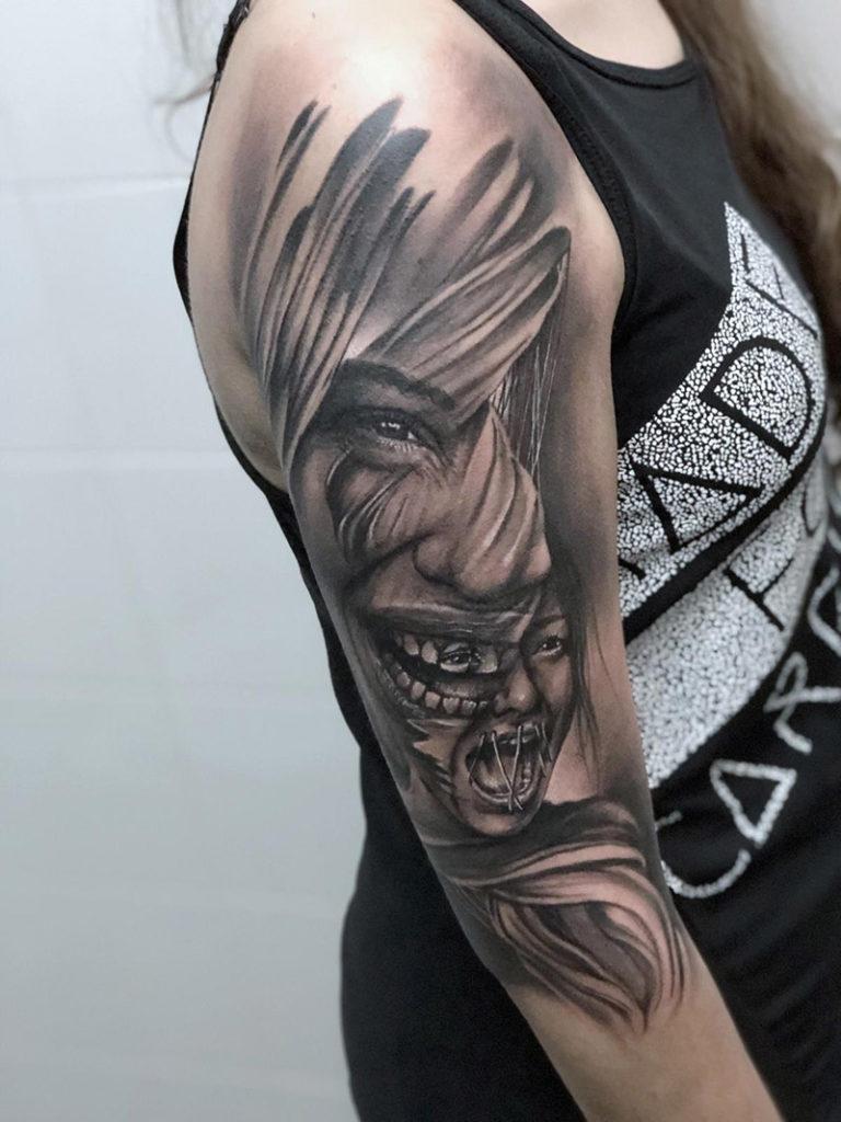 Tatto rostro en realismo realizado en Madrid por Cristian en Baltasar