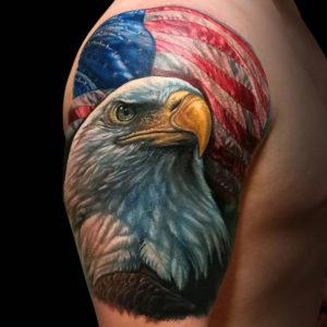 Tatuaje de aguila calva en Realismo hecho en Madrid