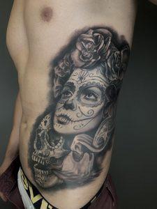 catrina tatuaje en realsimo