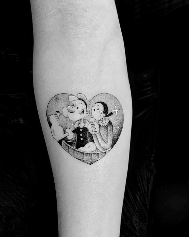 Tatuaje Popeye en microrealismo Madrid