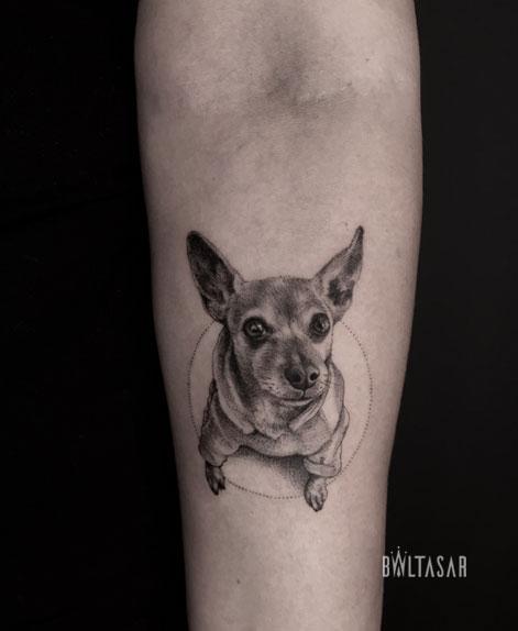 tatuaje de perro chow chow miniatura madrid