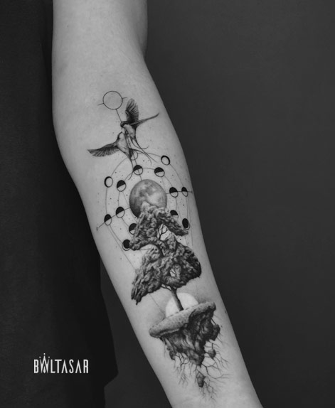 Tatuaje Composicion MIcro Realista hecha en Madrid