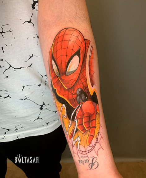 tatuaje spider man a color