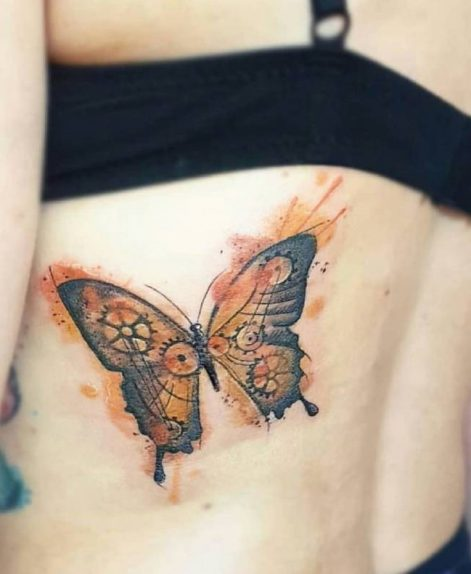 Mariposa watercolor tattoo