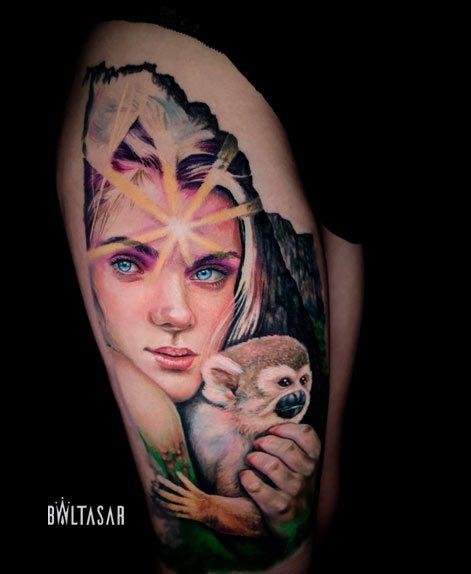 tatuaje realista a color realizado en Madrid