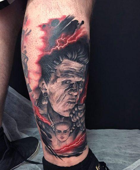 Tatuajes trash polka de Frank realizado en Madriz